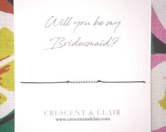 Will you be my Bridesmaid? Sterling Silver Bead Necklace