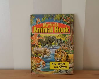 My First Animal Book for Boys and Girls / VINTAGE Children's Hardcover Color Picture Book / Rylee Ltd LONDON