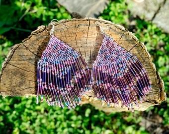 Lavender Lilac Seed Bead Earrings