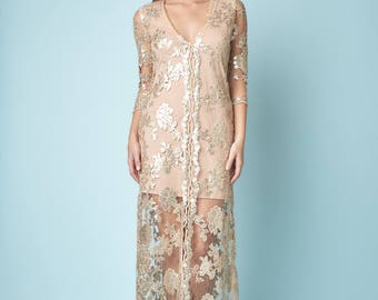 Bohemian sequin Embrodery mesh long dress for any occasion
