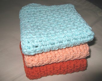 Set of 3  Crocheted Dish Cloths/Face Cloths