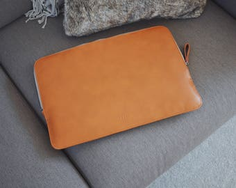 13 Inch MacBook Pro Leather Sleeve Case - Brown