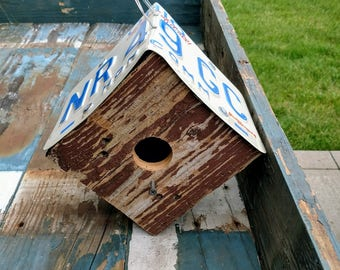 Reclaimed Wood and License Plate Bird House