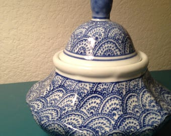 Blue and white decorative container made in Bombay