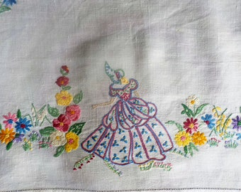 "Art Deco vintage hand embroidered CRINOLINE LADY CLOTH 23"" x 16"""