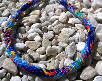 Beaded crochet necklace Sea swirls