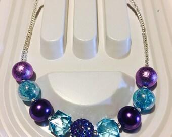 Blue and Purple Bubble Gum Necklace