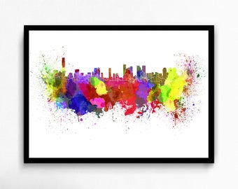 Watercolor Tel Aviv canvas art print poster