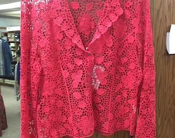 SALE Citrus Pink Snap Closure Flower Lace Blazer