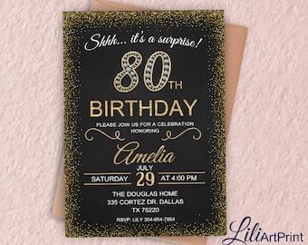 80th Birthday Invitation, Gold & Diamond Women Birthday Invitation, Any Age Birthday Invite, Surprise Invitation, Digital file, 12
