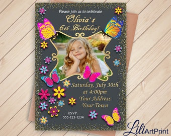 Butterfly Invitation, Butterflys Birthday Invitation, Butterflys Invite, Any Age Birthday Party, Digital file 20