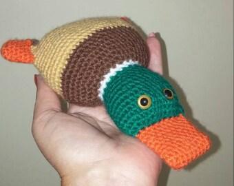 Rammelaar, eendje/duck rattle crochet amigurumi baby present handmade