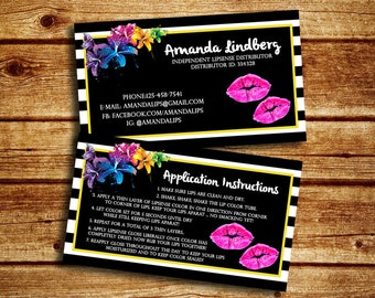 LipSense Business Card And Application Instruction Card,Floral Lip Business Card, Double sided Lip Business Card, Marketing Card