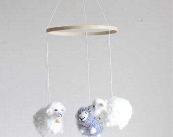 Sheep Mobile - Felted Sheep Mobile - Nursery Mobile - Baby Crib Mobile - Nursery Decor