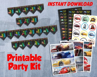 Cars 3 Birthday Party Supplies, Cars 3 Birthday Party Set, Cars 3 Birthday Kit, Disney Cars 3 Party Decor, INSTANT DOWNLOAD-DIY Printable