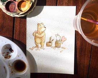 Disney Winnie the Pooh, Coffee art, Painting, Watercolour, A.A. Milne, Illustration, Friendship
