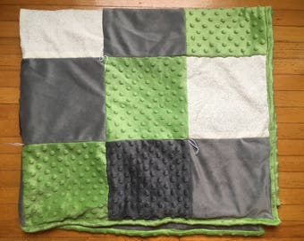 Green/Grey Minky Baby Blanket