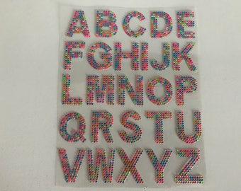 Rhinestone plated multicolored alphabet sticker