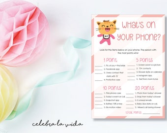 What's on Your Phone? Baby Shower Game. Instant Download. Printable Baby Shower Baby Girl Game. Pink