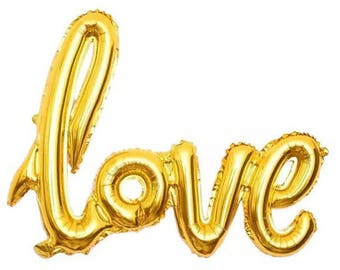 "Gold ""love"" Script Balloon // 40"""