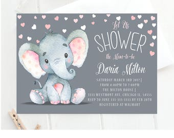 Elephant Baby Shower Invitation,elephant Baby Shower Invitation, Cute Elephant  Baby Invite, Elephant