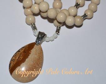 "26"" Fossil Stone Bead Necklace, Cream Necklace, Picture Jasper Pendant Necklace, Neutral Necklace, Long Necklace, 10mm Fossil Bead Necklace"