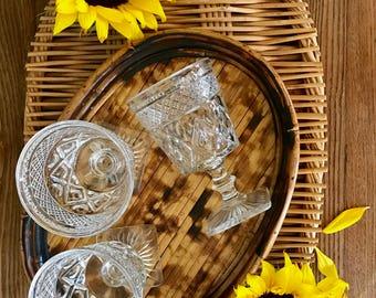 small vintage bamboo tray, wood accent tray, oval tray, boho decor