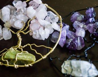 Tree Of Life Pendant-Healing Crystal- Crystal Healing- Boho/ Indie Style- Fun Gifts- Wearable Art- Amethyst-Rose Quartz