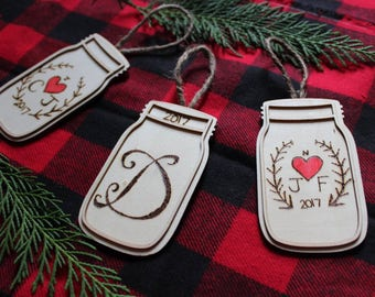 Custom Wood burned Mason jar ornaments!