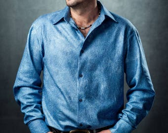 Felted men's shirt Denim from merino wool and silk.Size XL