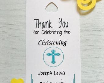 personalised christening thank you tags (boy)