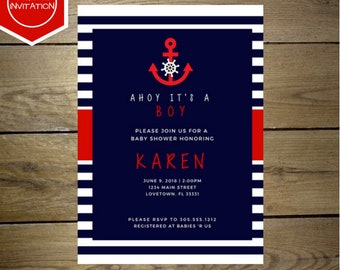 DIGITAL DOWNLOAD Customized Nautical Theme Baby Shower invitation, made to order baby shower invitation