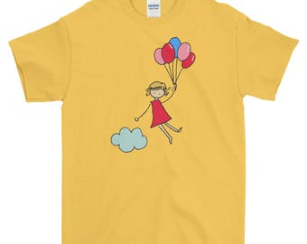 Youth Girl Floating with Balloons T-Shirt