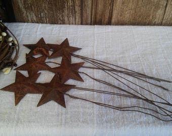 "6 Rusty Star Picks 1"" with Rusty Wire Primitive Country Rustic 1 inch Holiday Home Decor Decorative Wreath"