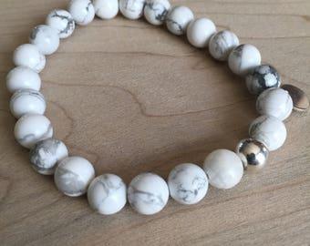 Bracelet howlite beads 8mm