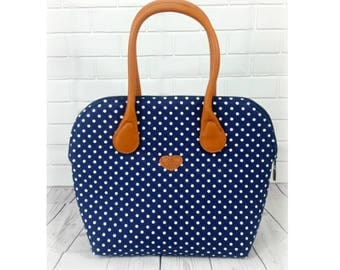 Handle bag - large model - DOTTI - cotton polka dot, Navy/white