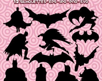 Batman Silhouette, Batman SVG, The Dark Knight, Batman EPS, Batman Mask, Batman Clipart,  Instant Download 48