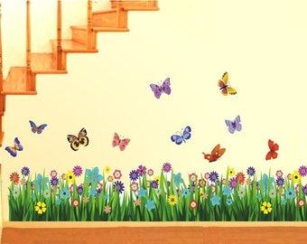 Wall Decals 'Walking in The Garden Flower' Wall Sticker Wall Decor PVC Vinyl 50cm x 70cm Decals Decor Wall Decals