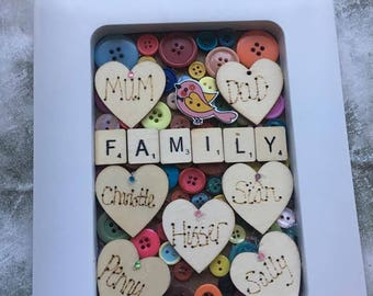 Personalised family hearts frame