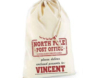 North Pole Post Office Christmas Day Personalised Custom Delivery Sack Kids Boys Girls