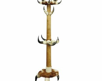 antique bull horn hall stand with cow fur ca.1870