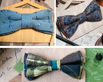 Bow Tie   Bowtie   Green   Colorful flowers   Blue   For boy   Сhild's accessory