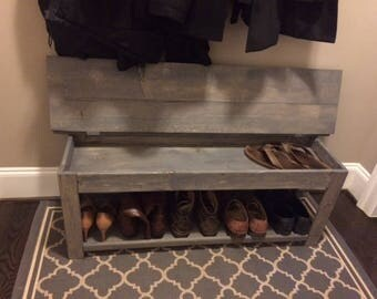 Custom Rustic Farm House Flip Top Storage Shoe Bench