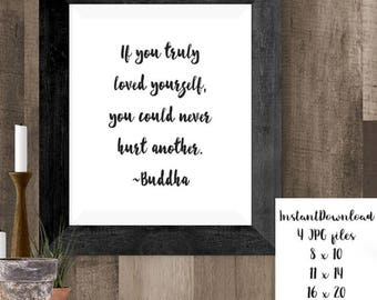 Mindful Quote Printable Wall Art, Buddha Decor, Self Love, Instant Download, Inspirational Quote, Mindfulness Prints, Buddha Art, Yoga Gifts