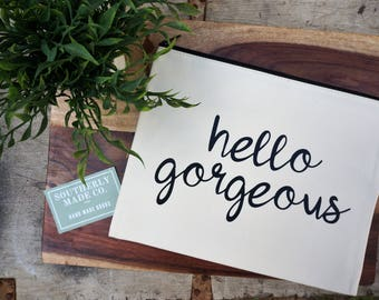 Canvas Bag | Travel Bag | Hello Gorgeous Bag | Toiletry Bag | Accessory Bag | Cosmetic Bag | Travel Pouch | Extra Large Bag | Bikini Bag