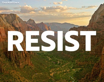 RESIST - Vinyl Decal, Car Decal, Laptop Decal, Water Bottle Decal, Bumper Sticker, Yeti Decal, Nature, National Parks, AltNPS, Outdoors