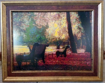 """The  embroidered picture """"Autumn in a park""""."""