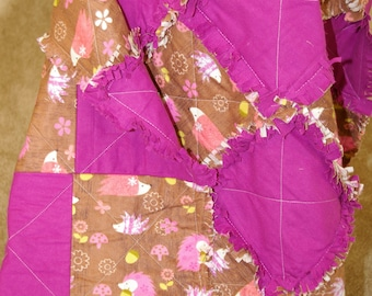 Pink and Brown Flannel Rag Baby Quilt