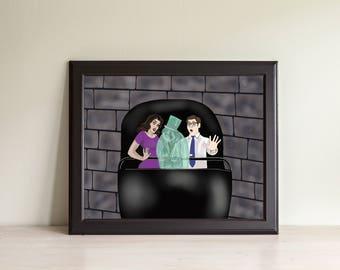 Beware of Hitchhiking Ghosts- Haunted Mansion- Doom Buggy- 999 Happy Haunts- Grim Grinning Ghosts- Disney Art- Halloween- Magic Kingdom