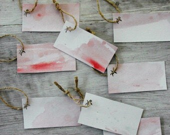Watercolour Gift Tags, Abstract, Water Colours, Pink, Cupid, Set of 8, Blank, Jute String, Unique.